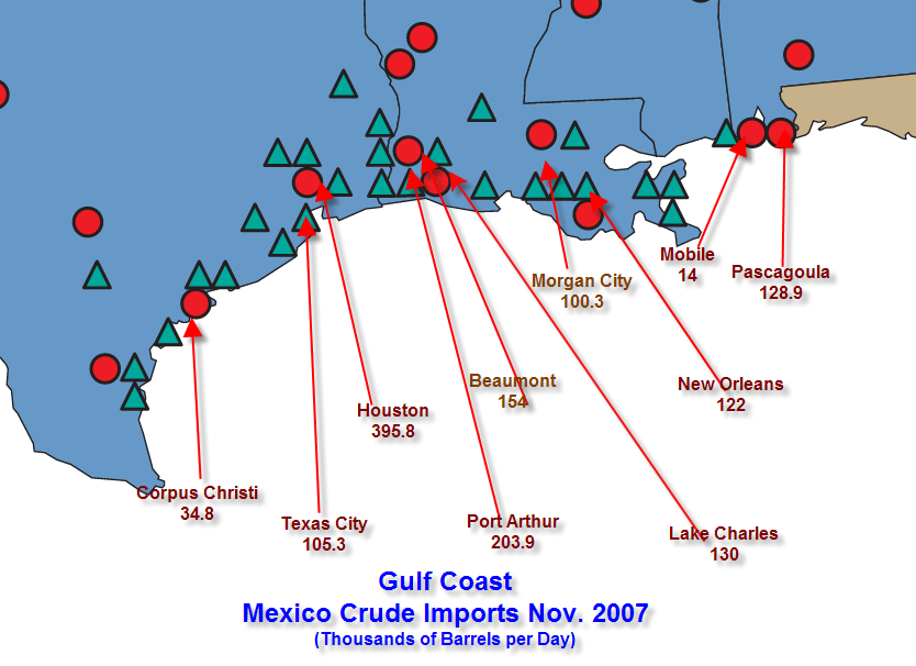 Mexico Crude Imports Gulf Coast USA November 2007
